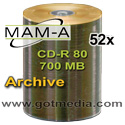 MAM-A (Mitsui) CD-R 80, 52X, Gold Matte Finish Thermal Surface 43612 - 100 Pack