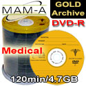 MAM-A Medical Gold Archive, DVD-R 120min 4.7gb, with MAM-A Logo - 83445 200 Pack