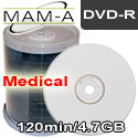 MAM-A Medical DVD-R 120min 4.7gb, White Thermal Printable - 163777 - 200 Pack