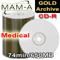 MAM-A (Mitsui) CD-R 74, Medical Gold Archive - White Thermal Printable - 43372 - 200 Pack