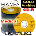 MAM-A (Mitsui) CD-R 80min 700MB, Medical Gold Archive, With Mama Logo - 45447 - 200 Pack